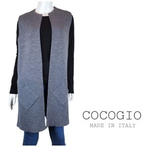COCOGIO Made In Italy Merino Wool Blend Long Open Sweater Vest